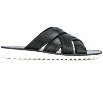 laced slip-on sandals