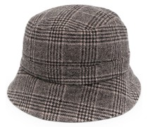 check patterned knitted bucket hat