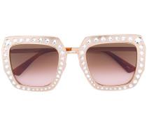 Oversized-Sonnenbrille mit Swarovski-Kristallen