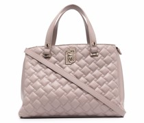 faux-leather quilted tote bag