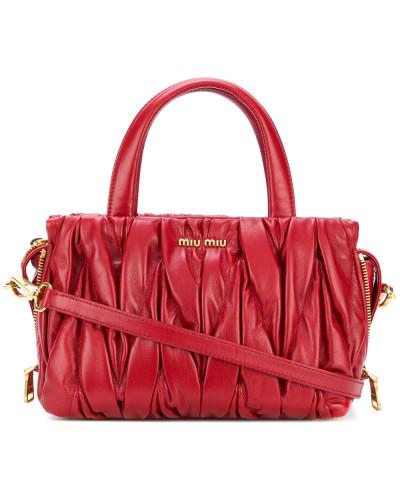 Pleated mini tote bag