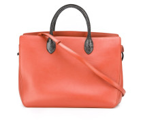 contrast fastening tote bag