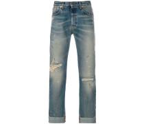 ribbon detail cropped jeans