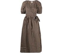 gingham-check wrap dress
