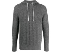 cable-knit pullover hoodie