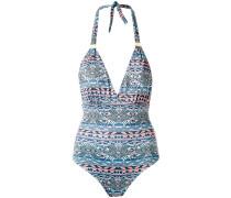v neck printed swimsuit