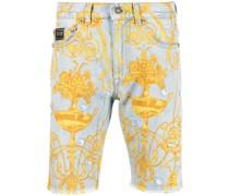 Jeans-Shorts mit barockem Print