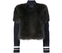 striped detail fur jacket