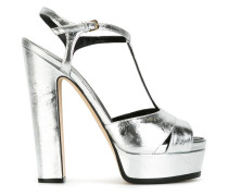 Plateau-Sandalen im Metallic-Look - women