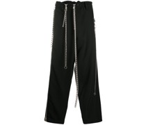 chain-detail straight leg trousers