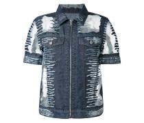 Jeansjacke mit transparenten Einsätzen