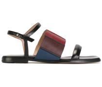 Flache Colour-Block-Sandalen