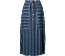 Denim stripe button skirt