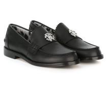 - Loafer mit Logo-Schild - kids - Leder/Metall