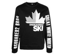 Sweatshirt mit Ski-Print