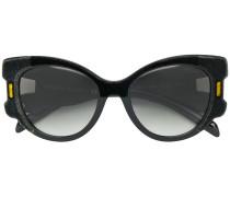 Oversized-Sonnenbrille mit Samtbesatz