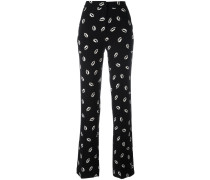 lip print straight trousers - women - Polyester