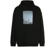 oversized photographic print hoodie