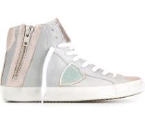 Metallische High-Top-Sneakers mit Reißverschluss