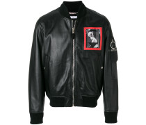 patched leather bomber jacket