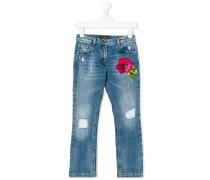 flower applique jeans