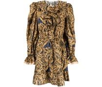 floral-print ruffle-collar flared mini dress