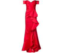 off shoulder ruffled evening gown