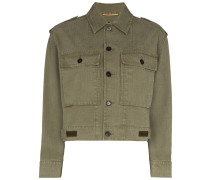Cropped-Jacke im Military-Look