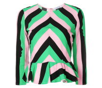 striped silhouette print blouse