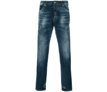 printed straight-leg jeans