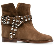 stud-buckled ankle boots