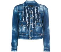 frill-embroidered denim jacket
