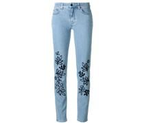 Skinny-Jeans mit Blätter-Stickerei