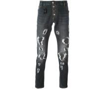 Schmal geschnittene Jeans in Distressed-Optik
