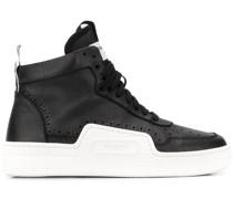 High-Top-Sneakers aus gekörntem Leder