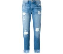 - Cropped-Jeans mit Fransen - women - Baumwolle
