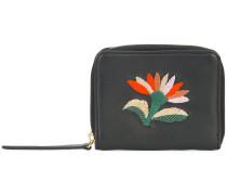 embroidered flower zip purse