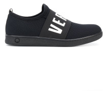 waffled logo slip-on sneakers