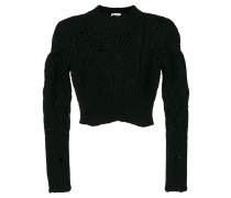 Cropped-Pullover mit Struktur