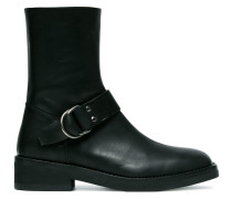 Black Buckle Leather Biker Boots