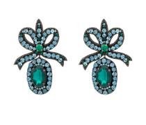 crystal embellished bow earrings