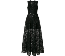 sleeveless sequin embroidery gown