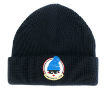 ribbed logo patch beanie