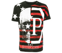 Skull flag print T-shirt