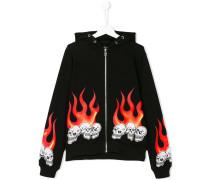 skull fire patch zip hoodie