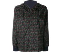 floral print zip hooded jacket