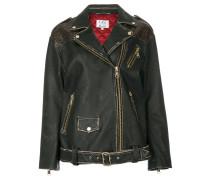 leopard print panel biker jacket