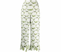 Cropped-Hose mit Blumen-Print
