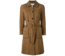 trench coat with contrast black piping