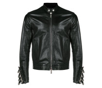 buckled-cuffs leather jacket